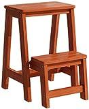 Inicio Taburetes escalonados 2 escalones Taburete escalonado de madera maciza Escalera Escalera de mano plegable Estante de flores de madera para interiores para adultos Estantes para plantas Jardín