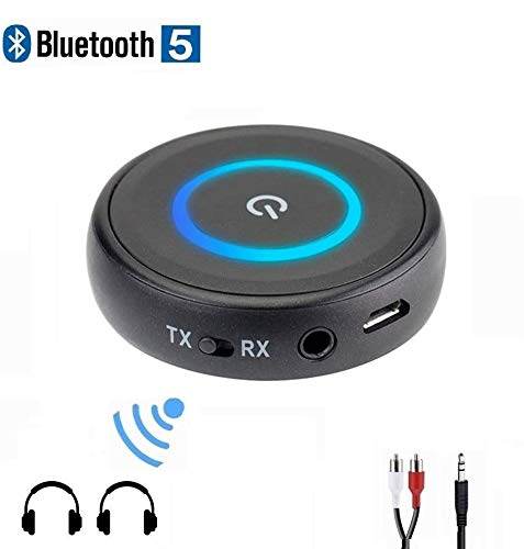 Golvery Bluetooth 5.0 Transmitter Receiver for TV, 2-in-1 Low Latency Wireless Audio Adapter for PC CD DVD Radio Projector Home Car Stereo System with 3.5mm RCA Aux Jack, Pair 2 at Once