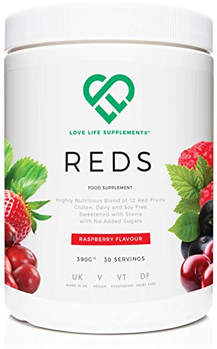 Primal Reds (Red Fruit Drink) | 390g Tub / 30 Servings | Natural Raspberry Flavour with Stevia | Manufactured in The UK | Love Life Supplements -'Live Healthy, Love Life.'