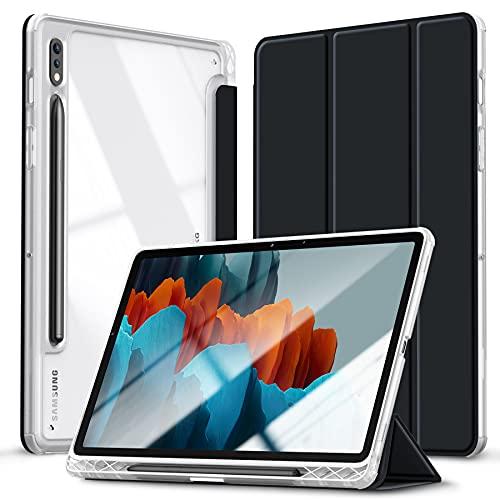 Kdely Custodia per Samsung Galaxy Tab S7 11 Pollici Cover con Auto Svegliati/Sonno Case Tablet Folio con Supporto [Retro Trasparente] - Nero