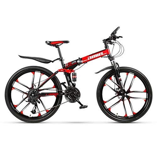 Gq2019 Folding Mountain Bike for Adults,24/26 Inch Mountain Bikes with High-Carbon Steel Frame Men's Hardtail Mountain Bike (Color : 21-Stage Shift, Size : 26inches)