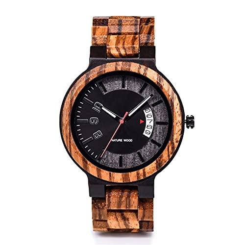 yuyan Reloj de Hombre de Madera de Cebra, Esfera Gris, Negocios de Moda Casual de Moda Reloj Deportivo con Calendario, Salud y protección del Medio Ambiente