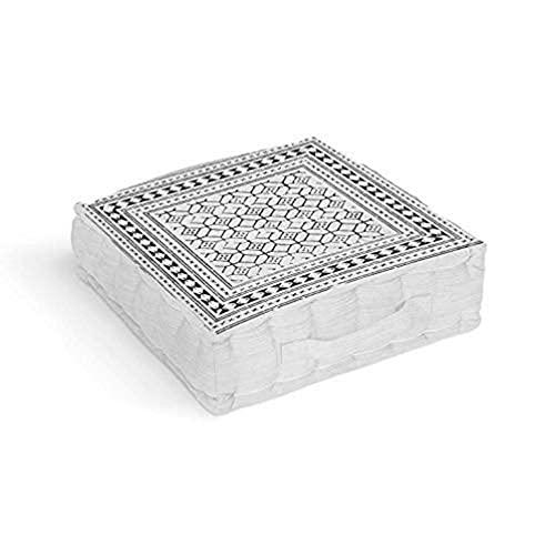 Soleil d'ocre Lima Cuscino da pavimento, Cotone, Bianco, 40 x 40 x 8 cm