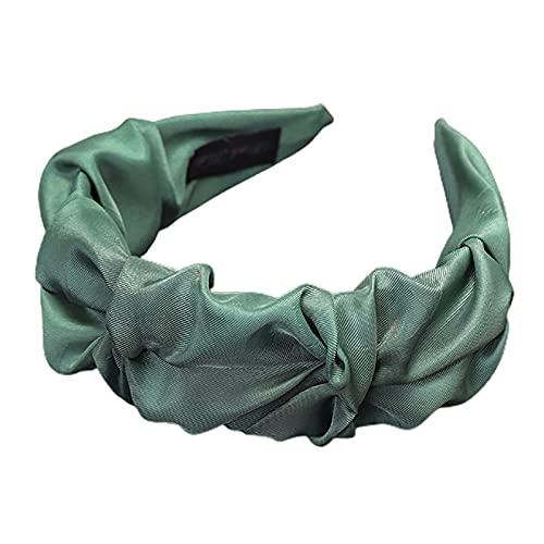 WFZ17 Color sólido antideslizante ancho plisado diademas pelo coletero cierre de pelo tocado para uso diario Headwear Atrovirens