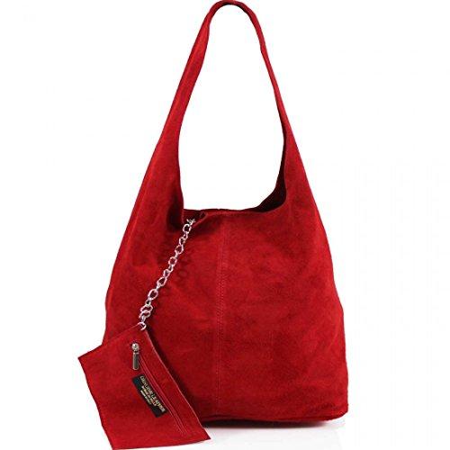 AMBRA Moda Damen Ledertasche Shopper Wildleder Handtasche Schultertasche Beuteltasche WL818 (Rot)
