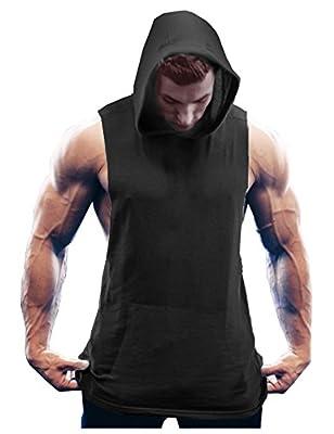COOFANDY Men's Workout Hooded Tank Tops Bodybuilding Muscle Cut Off T Shirt Sleeveless Gym Hoodies Black