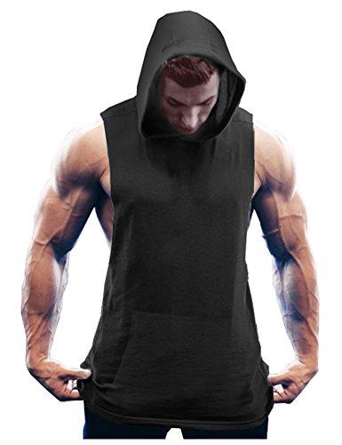 COOFANDY Men s Workout Hooded Tank Tops Bodybuilding Muscle Cut Off T Shirt Sleeveless Gym Hoodies Black