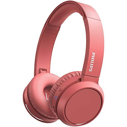 Philips H4205RD 00 Auriculares inalámbricos Bluetooth, On Ear (Bass Boost, 29 horas de autonomía, Función de carga rápida, Aislamiento acústico, Diseño plegable) - Color rojo mate, Modelo de 2020 2021