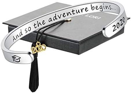 SAM LORI And So The Adventure Begins Graduation Gift Inspirational Cuff Bracelet Grad Cap Jewelry product image