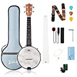 Mulucky 4 String Banjo Ukulele Concert 23 Inch Remo Drumhead...
