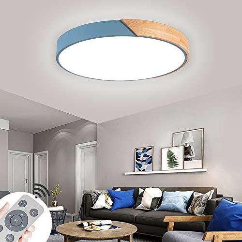 60W Lámpara de techo LED Regulable Plafon Techo Led Redonda Iluminación interior para Dormitorio Comedor Cocina Balcón Marco de Concha Azul [Clase de eficiencia energética A++]
