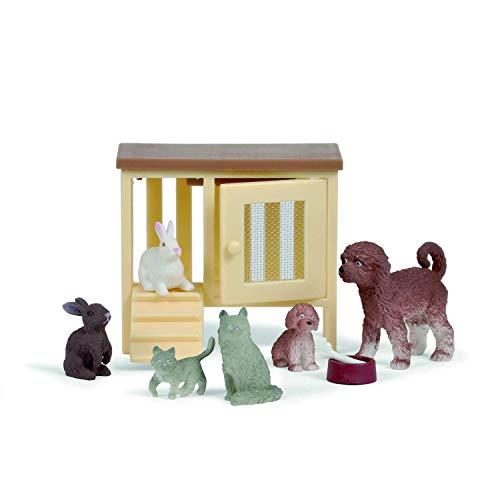 Lundby 60-807500 - Haustiere für Puppenhaus - 9-teilig - Puppenhauszubehör - Hund - Katze - Kaninchen - Figure - Tier - Kätzchen - Welpen - Zubehör - ab 4 Jahre - Minipuppen 1:18