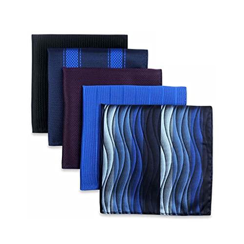 SLATIOM 5 Piezas Surtidos para Hombre Bolsillo Cuadrado pañuelo Cuadrado Conjunto de Accesorios de Accesorios Fiesta de Regalos (Color : A, Size : 32x32CM)