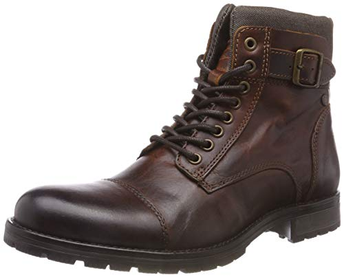 JACK & JONES JFWALBANY Leather STS, Biker Boots para Hombre, Marrón(Brown Stone Brown Stone), 43 EU