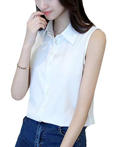 PAODIKUAI Women's Collared Sleeveless Tops Chiffon Casual Blouse Shirts Tank Tops (White, Small)