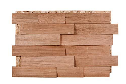 Split4Wall Wandverkleidung Echtholz Spaltholz Eiche spaltrau Schindel ca. 1m2 3D-Optik handgefertigt Wandpaneel moderne Wanddekoration Holzverkleidung Holzwand - Eiche unbehandelt, 60mm Schindeln
