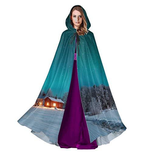 Rtosd Disfraz de Capa Aurora Boreal Capa con Capucha Ligera para Adultos 59 Pulgadas para Navidad Disfraces de Halloween Cosplay