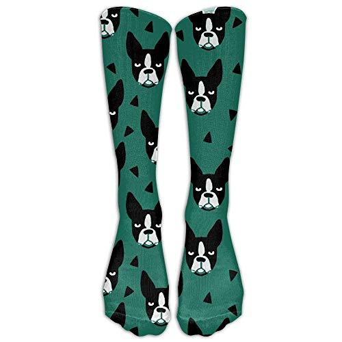 wwoman Chaussettes mi-bas de compression pour genou Boston Terrier pour femmes