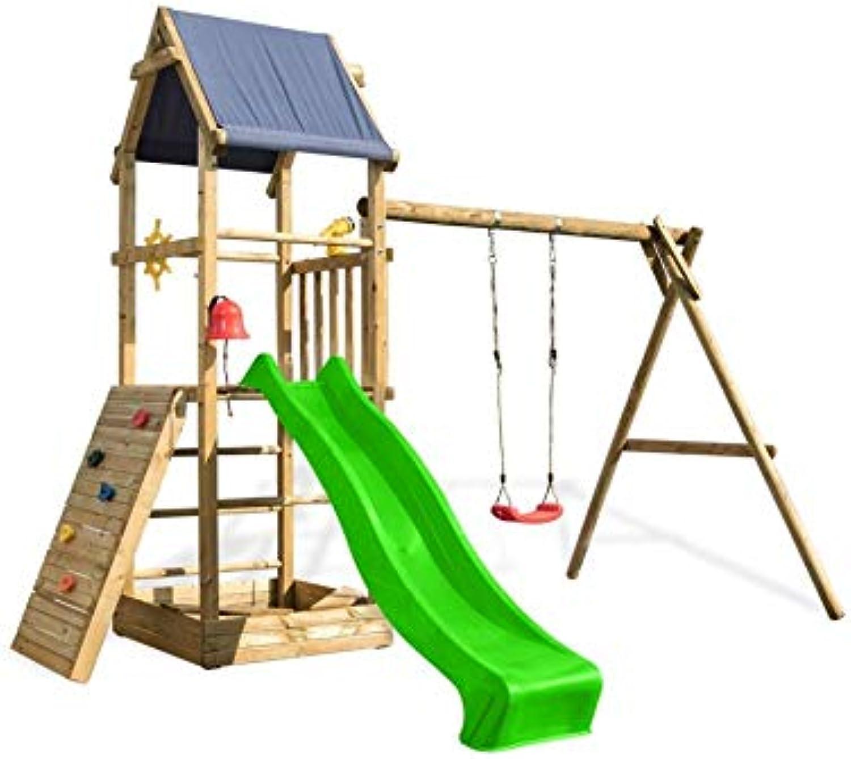 Scheffer Outdoor-Toys Spielturm Alex 1 Schaukel, Sandkasten und Kletterwand, Rutsche whlen apfelgrüne Rutsche, Sicherheit whlen ohne Bodenanker