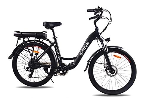 E-Town Smart City Bicicleta eléctrica unisex para adultos, color negro