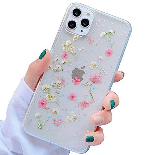 Tybiky - Custodia protettiva per iPhone 12 Pro, motivo floreale secchi, in gel di cristallo, fatta a mano, con fiore