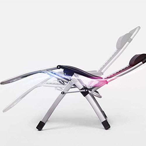 GAOFQ Tumbona Sillas de jardín Tumbona Plegable Mecedora con cojín Transpirable, Zero Gravity Plegable Lunch Break Siesta Cama Balcón Ocio Respaldo Cool Chair (Color, Silver), Silver