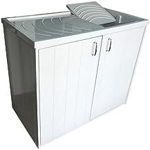 Meuble lingère avec meuble avec lavabo, version réversible, avec 2portes