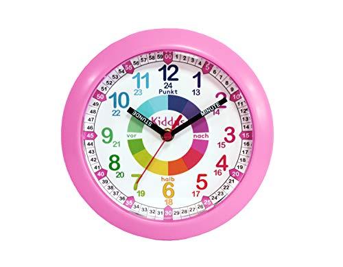 KIDDUS Wanduhr für Kinder, Jungen und Mädchen. Analoger Zeitlehrer mit Zeitlernübungen. Gut lesbar, um ganz leicht, Ablesen der Uhrzeit Lernen. Wanduhr Mit lautlosem Uhrenwerk und Farbenfrohem Design