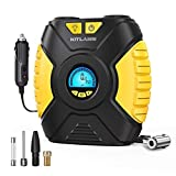KITLABS 12V DC Digital Tire Inflator, Portable Air Compressor Pump for Car Tire,Auto Tire Pump with LED Light, Digital Pressure Gauge for Car, SUV, Motorcycle Bicycle Sport Ball