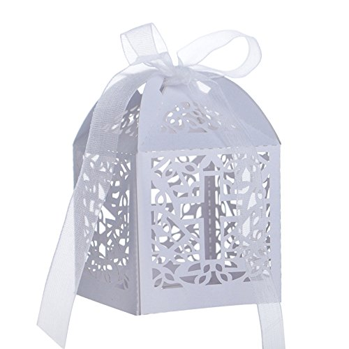 Aspire 50 Pcs/Pack Cross Favor Boxes Wholesale Laser Cut Candy Paper Box Wedding Party Accessories - White,1 Pack