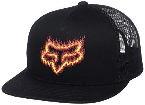 Fox Gorra Snapback Flame Head de Beisbol Baseball (Talla única - Negro-Naranja)