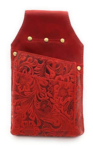 Borsa da cameriere in pelle bovina goffrata a olio, motivo floreale, fiori e viticci, Chrerry. (Rosso) - 8671