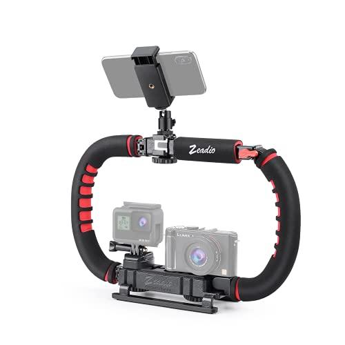 Zeadio Kamera Handy Stabilisator, Faltbare Griff Video Rig Steadycam Stabilizer für alle Action Kamera, Kamera, Camcorder, DSLR, Smartphone, iPhone, Huawei, Samsung usw