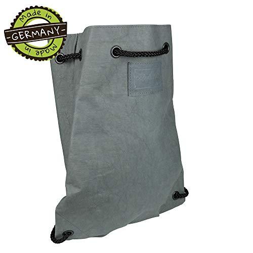 papyrMAXX Backpack BOB - milieuvriendelijke rugzak sportzak dames heren van wasbaar papier 0,55 cm dik I Lichte rugzak voor alledaags gebruik met koord in lederlook 35 x 43 x 12 cm anthracite