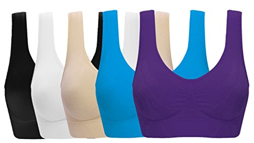 ohlyah Women s Seamless Wire-Free Bra with Removable Pads 5 Pack black White Nude Blue Purple XL 36D 38B 38C 40A