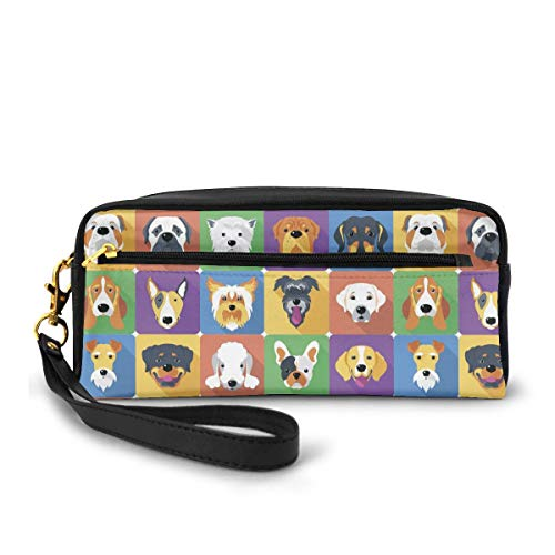 Pets Shepherd Terrier Labrador Domestic Animals Illustration Pencil Case Big Capacity Multifunction Storage Pouch Leather Cosmetic Makeup Bag, Stationery Organizer with Zipper for School Office