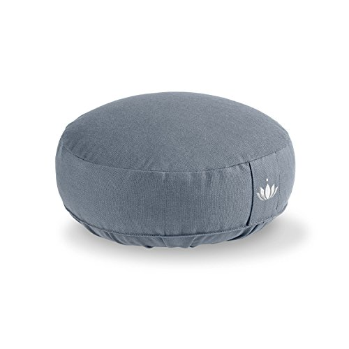 Lotuscrafts Yogakissen Meditationskissen Extra Niedrig - Sitzhöhe 10cm - Waschbarer Bezug aus Baumwolle - Yoga Sitzkissen mit Dinkelfüllung - GOTS Zertifiziert (Kornblume)