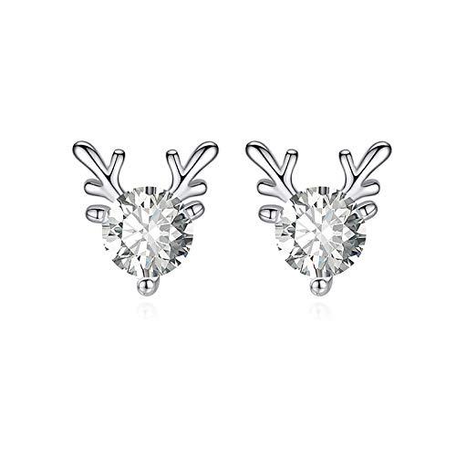 Ruby569y Pendientes colgantes para mujeres y niñas, moda mujer cuerna en forma de aretes de joyería regalo decoración de Navidad - blanco
