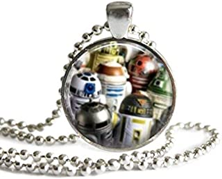 Star Wars R2 Units 1 Inch Silver Plated Pendant Necklace or Keychain