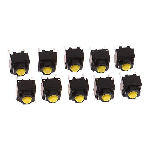 Kfdzsw Micro Interruptor 10pcs Mute BOTÓN 6 * 6 * 7.3MM Interruptor de Silencio del ratón inalámbrico Botón cableado del botón Micro Interruptor Amarillo pulsador Interruptor