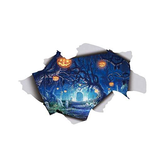 Floweworld Halloween Wandaufkleber Kürbis Gedruckt Lustige 3D Gebrochen Wandaufkleber Boden Vinyl Abnehmbare Aufkleber Wohnkultur