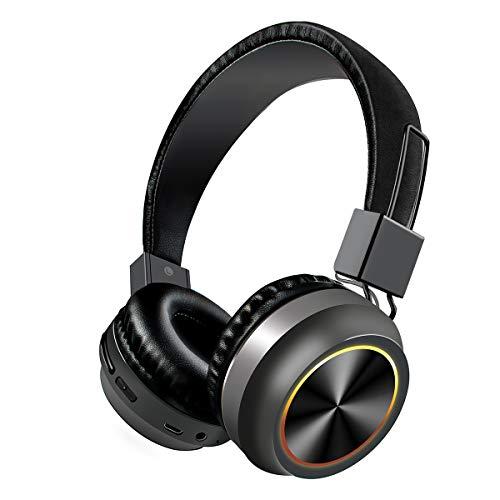 Camidy Auriculares inalámbricos con micrófono incorporado, auriculares estéreo Bluetooth Hi-Fi, 7 colores luces LED plegables para juegos para teléfono, portátil, TV