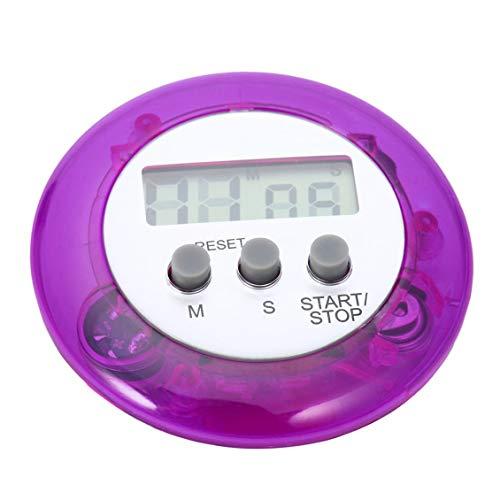 Mignon Mini Compteur Numérique Maison Cuisine Ronde LCD Affichage Numérique Cuisson Compte À Rebours Compte À Rebours Alarme-Violet