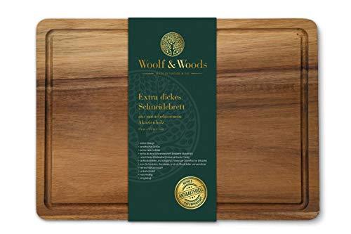 Woolf & Woods | Schneidebrett aus Akazienholz| extra dick | reines Naturprodukt | nachhaltig | unbehandelt | Holzbrett als Steak- und Käseplatte | 35cm x 25cm x 3cm