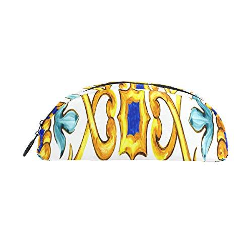 Federbeutel Kleine Verzierung Auf Italienischen Fliesen Majolika Cyan Federbeutel Organizer Federmäppchen Tasche Reißverschluss Für Studenten Klasse Kinder Junge Mädchen Schule Make-up Bleistiftbeute