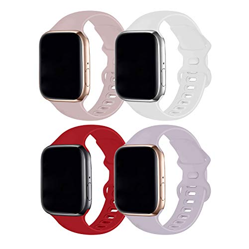 Hotflow 4 Pack Compatible with Watch Band 42mm 44mm,Sport Silicone Soft Replacement Band Compatible for Watch Series SE/6/5/4/3/2/1 [M/L Size - White/Red/Lavender/PinkSand]