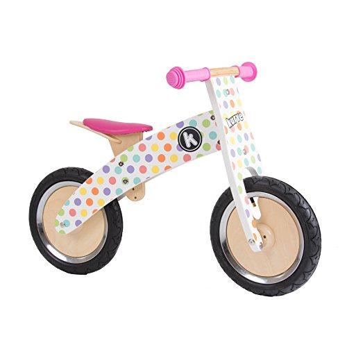 kiddimoto 2kur605 - Premium Laufrad Pastel Dotty, verstellbar für 3-6 Jahre, pünktchen bunt