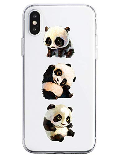 Oihxse Silicone Crystal Coque pour iPhone Se 2020/iPhone 9 Ultra-Thin Transparente Gel TPU Souple Etui Design Motif Mignon Panda Protection Antichoc Housse Bumper (Panda A1)