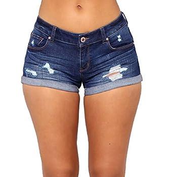 Tulucky Womens Mid Waist Denim Shorts Ripped Hole Juniors Short Jeans FoldedHemBlue,S
