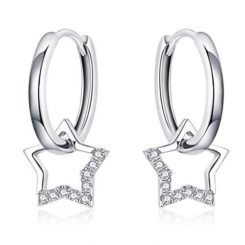 Pendientes de aro pequeños con diseño de estrella, plata con colgante para mujer, simple regalo para cumpleaños, día de la madre